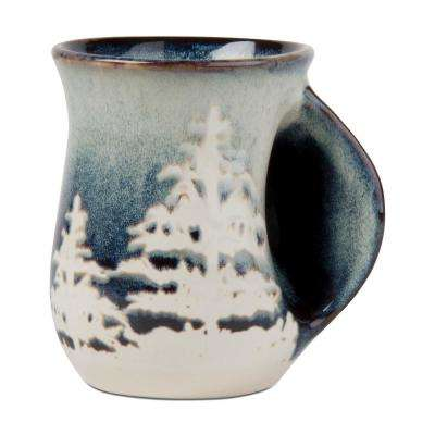 Forest Reactive Glaze 18 oz. Midnight Blue Stoneware Hand Warmer Mug