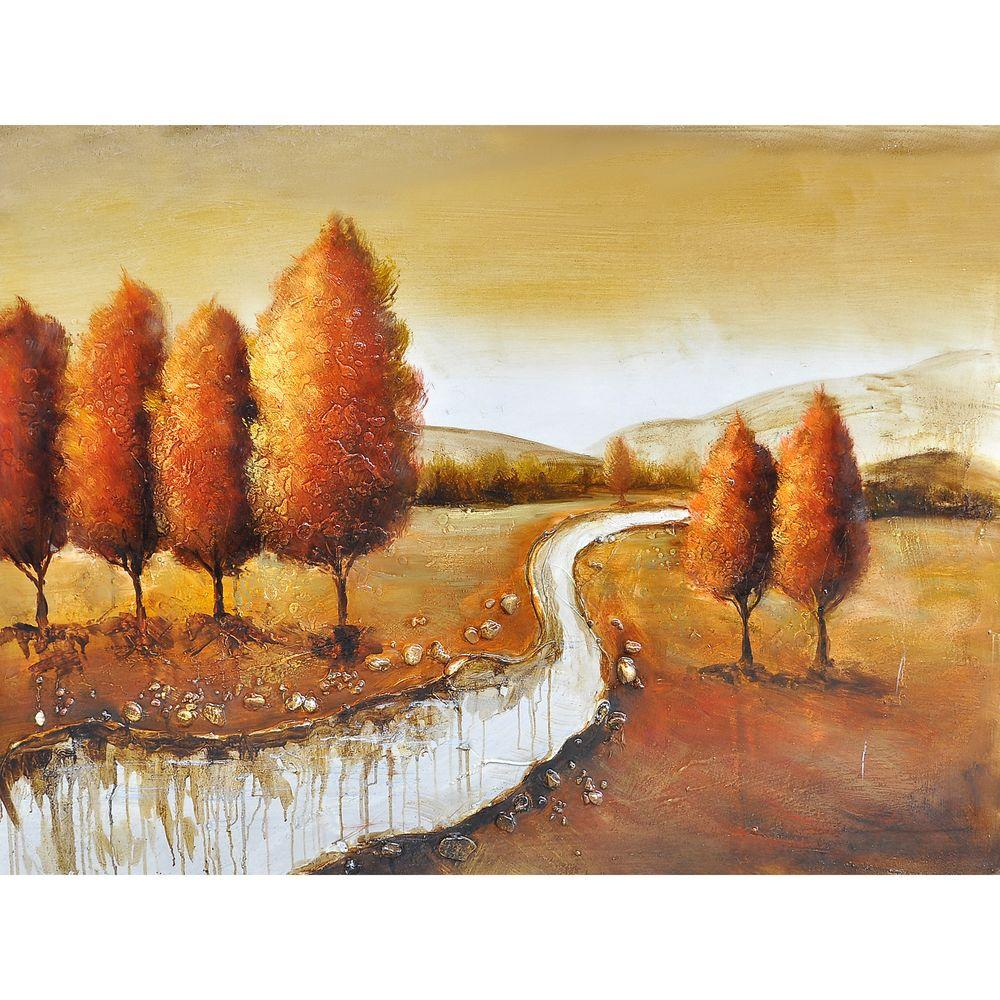 Yosemite Home Decor 48 in. x 36 in. Autumn in New York II Hand Painted Contemporary Artwork