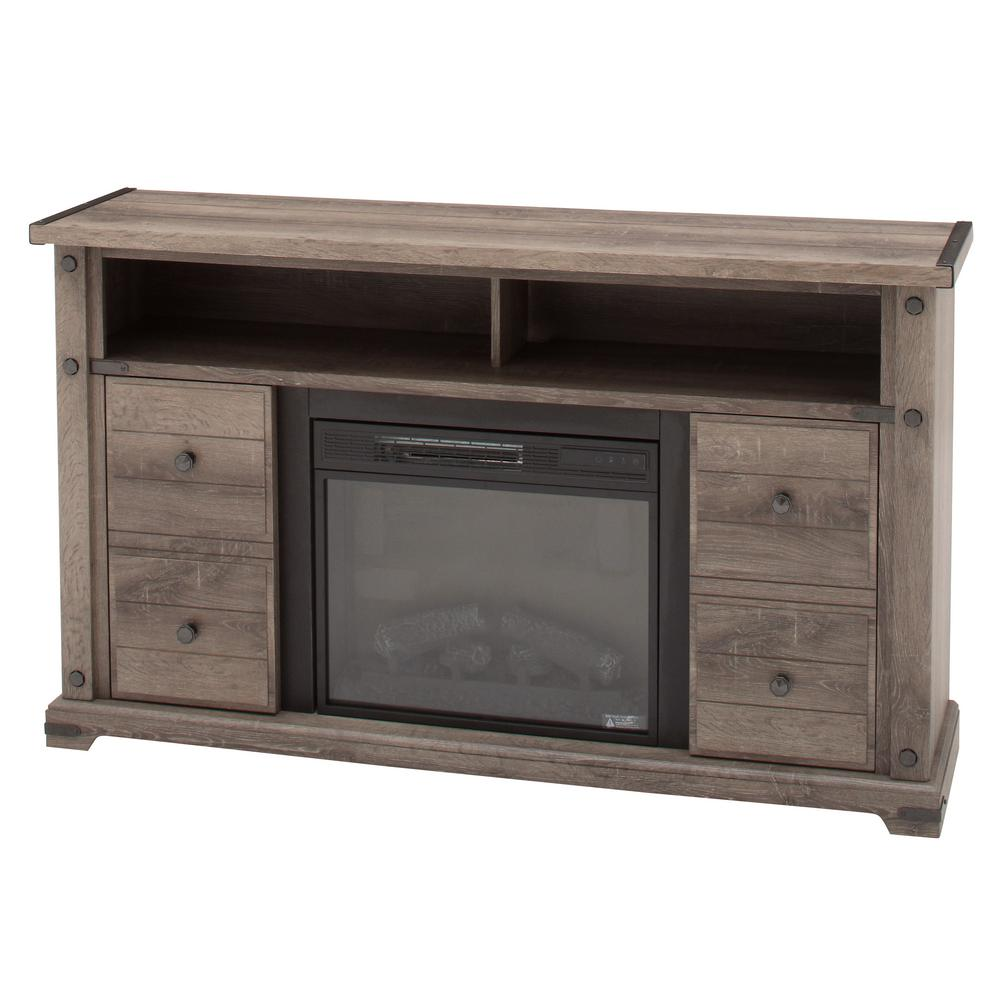Brannen 60 in. Freestanding Industrial Media Console Electric Fireplace TV Stand