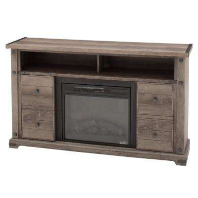 Brannen 60 in. Freestanding Industrial Media Console Electric Fireplace TV Stand in Embossed Oak