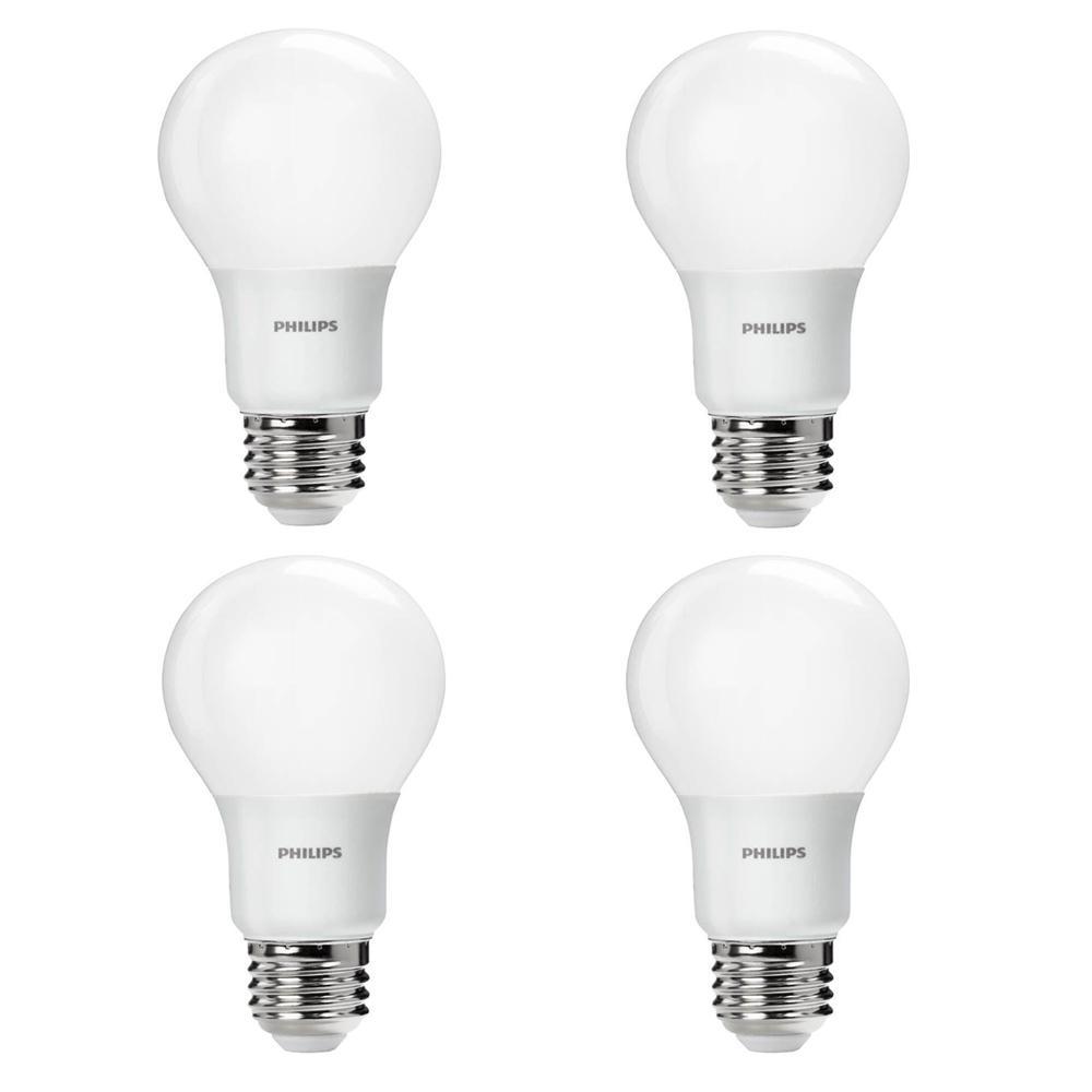 60-Watt Equivalent A19 Non-Dimmable Energy Saving LED Light Bulb Daylight (5000K) (4-Pack)