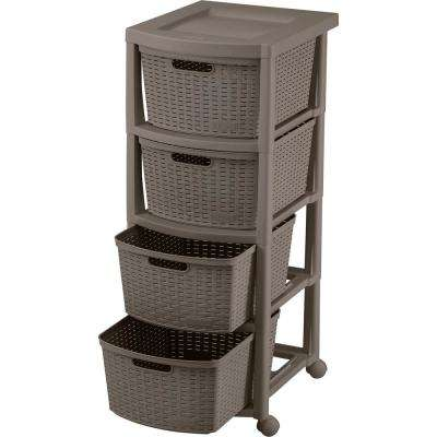 4-Drawer Brown Rolling  Utility Cart 13 in. W in Mocca