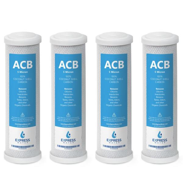 5 Micron Activated Carbon Block ACB Water Filter 10 in. Standard Replacement for Reverse Osmosis and Under Sink (4-Pack)