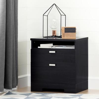 Reevo 1-Drawer Black Onyx Nightstand
