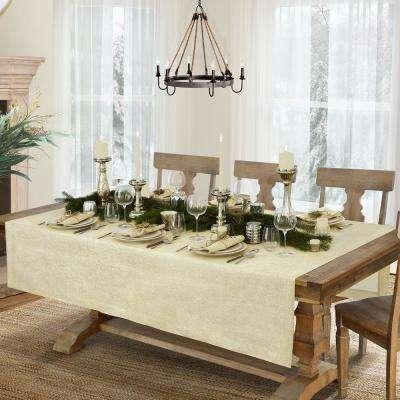La Classica 70 in. W x 126 in. L Fabric Tablecloth in Ivory/Gold