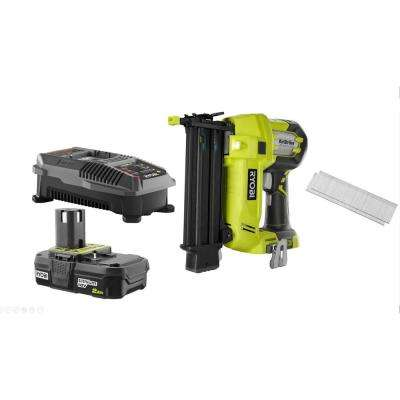18-Volt ONE+ Lithium-Ion Cordless AirStrike 18-Gauge Brad Nailer with Sample Nails