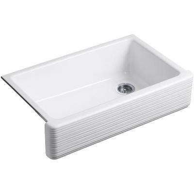 Whitehaven Farmhouse Apron-Front Cast Iron 36 in. Single Bowl Kitchen Sink in White