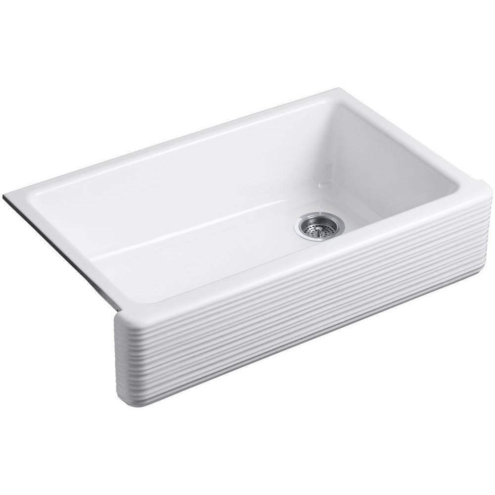 Whitehaven Farmhouse Apron Front Self-Trimming Cast Iron 36 in. Single Bowl Kitchen Sink in White with Hayridge Design