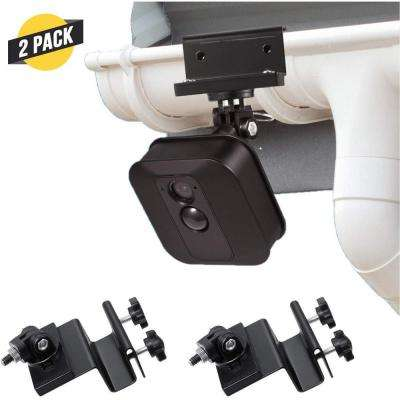Weatherproof Gutter Mount for Blink Outdoor, Blink XT and Blink XT2 Camera with Universal Screw Adapter (2-Pack, Black)