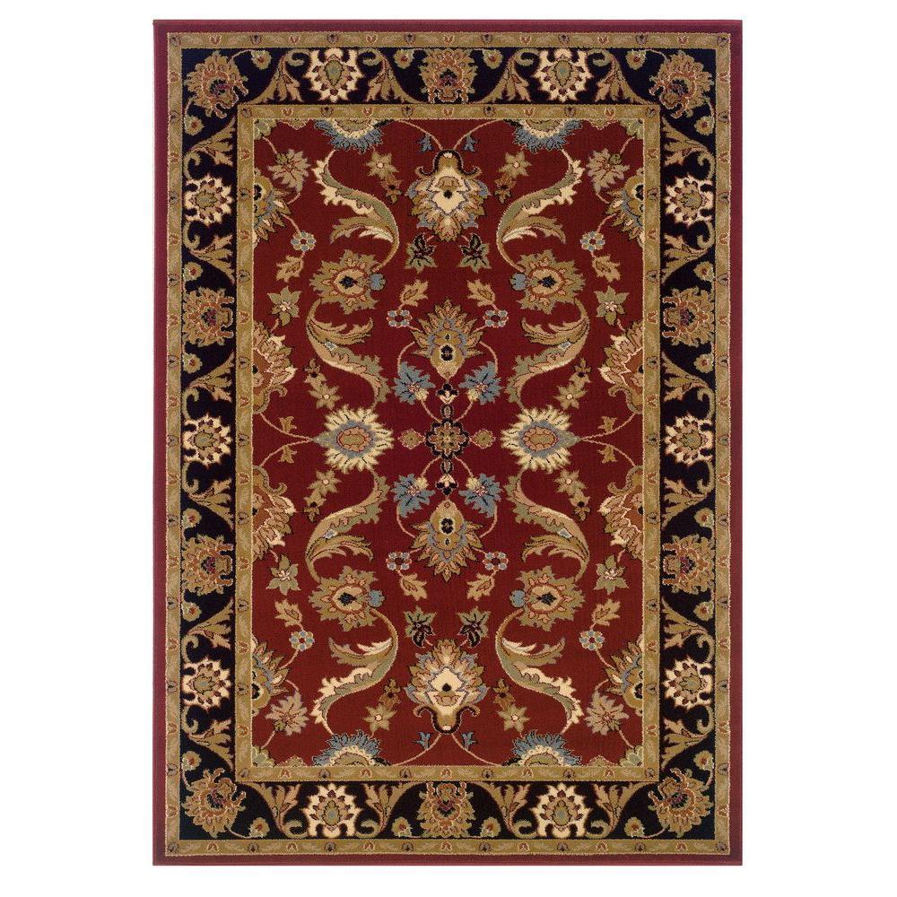Adana Red/Black Sandstone 8 ft. x 10 ft. Durable Indoor Area Rug