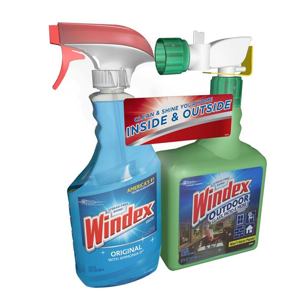 Windex 32 Oz Outdoor Glass And Patio Concentrated Cleaner And 23 Oz Original Glass Cleaner