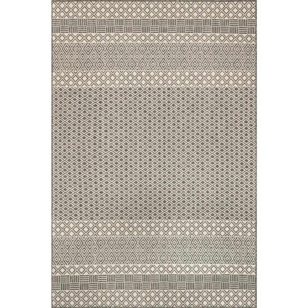 Adelpha Coastal Striped Lattice Light Grey 8 ft. x 10 ft. Indoor/Outdoor Area Rug