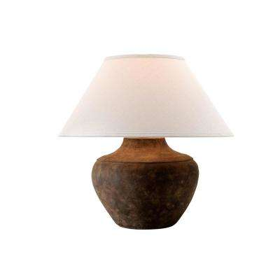 Calabria 20.5 in. Sienna Table Lamp with Off-White Linen Shade
