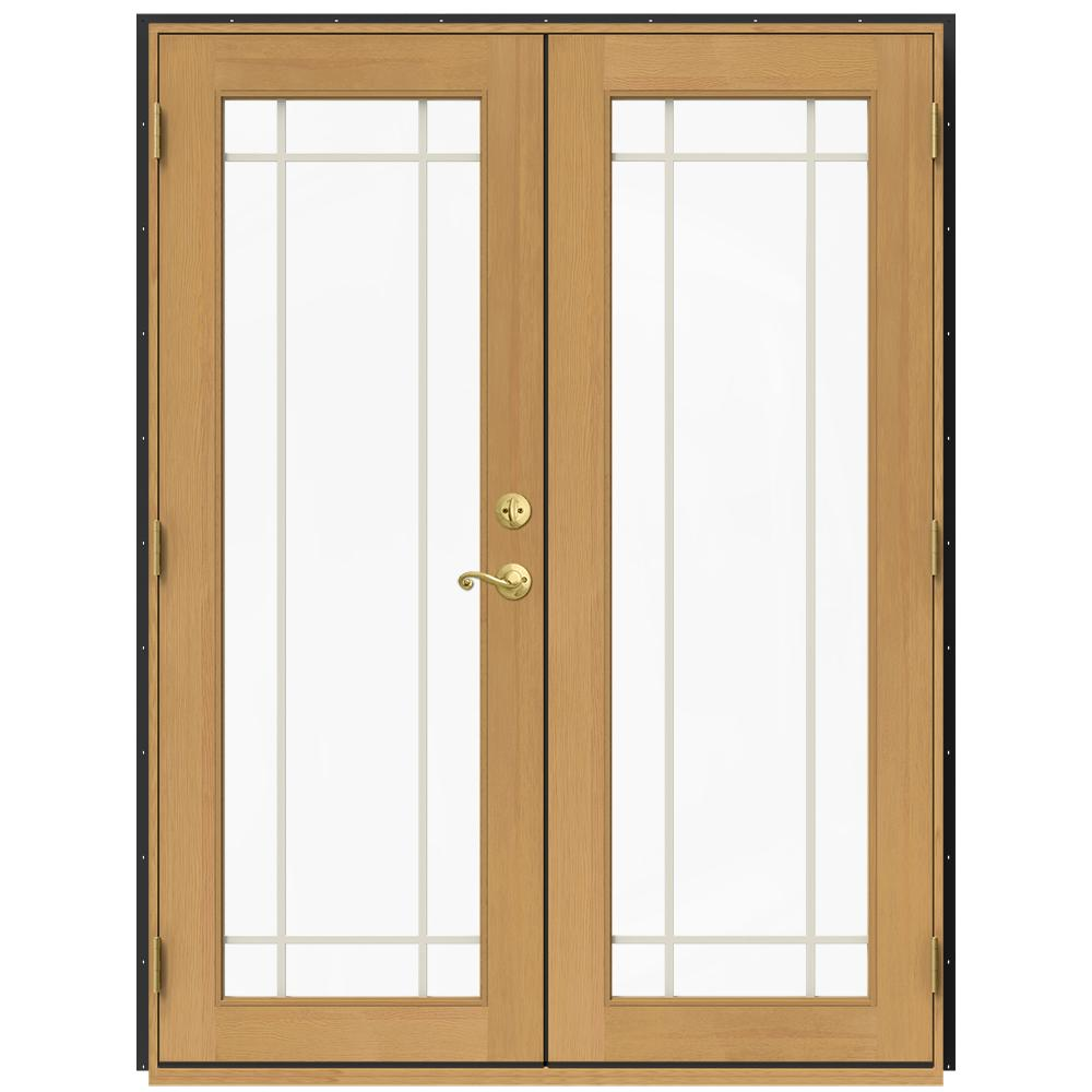 Jeld wen 60 in x 80 in w 2500 bronze clad wood right - Interior french doors home depot ...