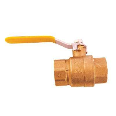 Lead-Free Full Port Forged Brass Ball Valve with Chrome Plated Lever Handle - 1-1/4 in. FNPT