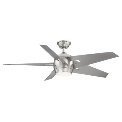 Point Aire 52 in. LED Brushed Nickel Ceiling Fan with Light