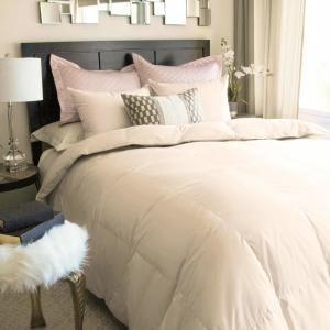 Nikki Chu King White Down Comforter in Soft Clay by Nikki Chu