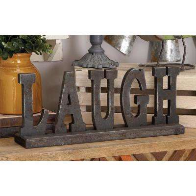 "20 in. x 8 in. Home and Hearth ""LAUGH"" Wooden Table Sign"