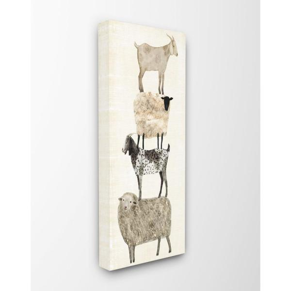 The Stupell Home Decor Collection 13 In X 30 Fun Stacked Sheep