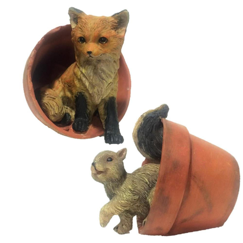 Charmant Call Of The Wild 6 In. Squirrel In Pot And Baby Fox In Pot Animal