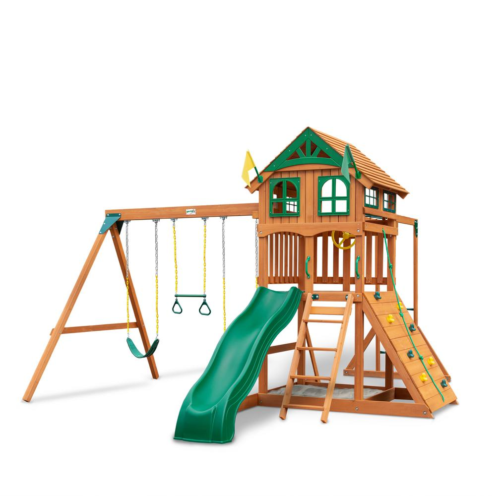 Gorilla Playsets Installed Outing III Wooden Playset with Wood Roof, Monkey Bars and Rock Wall