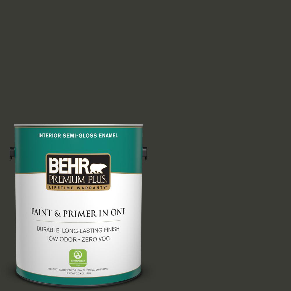 1-gal. #ECC-10-2 Jet Black Zero VOC Semi-Gloss Enamel Interior Paint