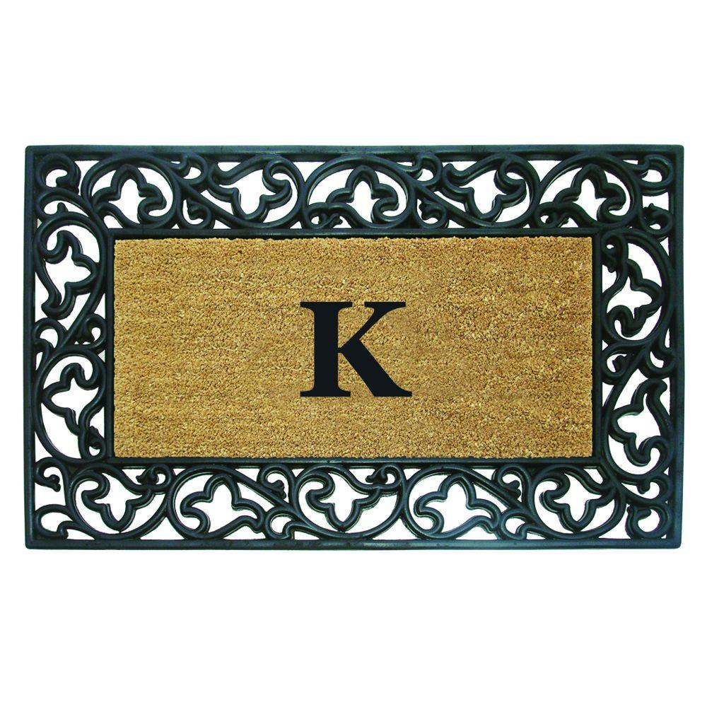 Nedia Home Acanthus Border 30 in. x 48 in. Rubber Coir Monogrammed K Door Mat