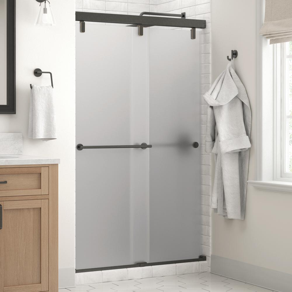 Everly 48 in. x 71-1/2 in. Mod Semi-Frameless Sliding Shower Door in Bronze and 1/4 in. (6mm) Niebla Glass