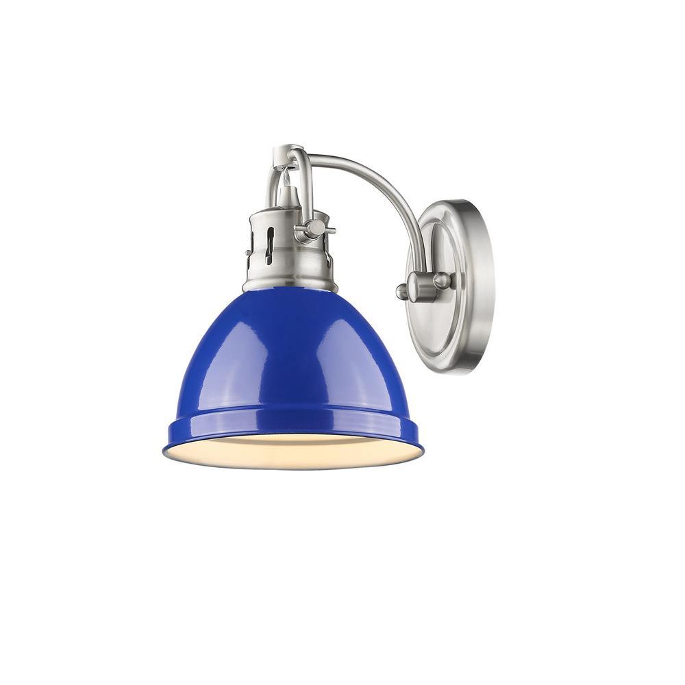 Golden Lighting Duncan Pewter 1-Light Bath Light with Blue Shade