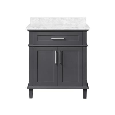 Sonoma 30 in. W x 22 in. D Bath Vanity in. Dark Charcoal with Carrara Marble Vanity Top in White with White Basin