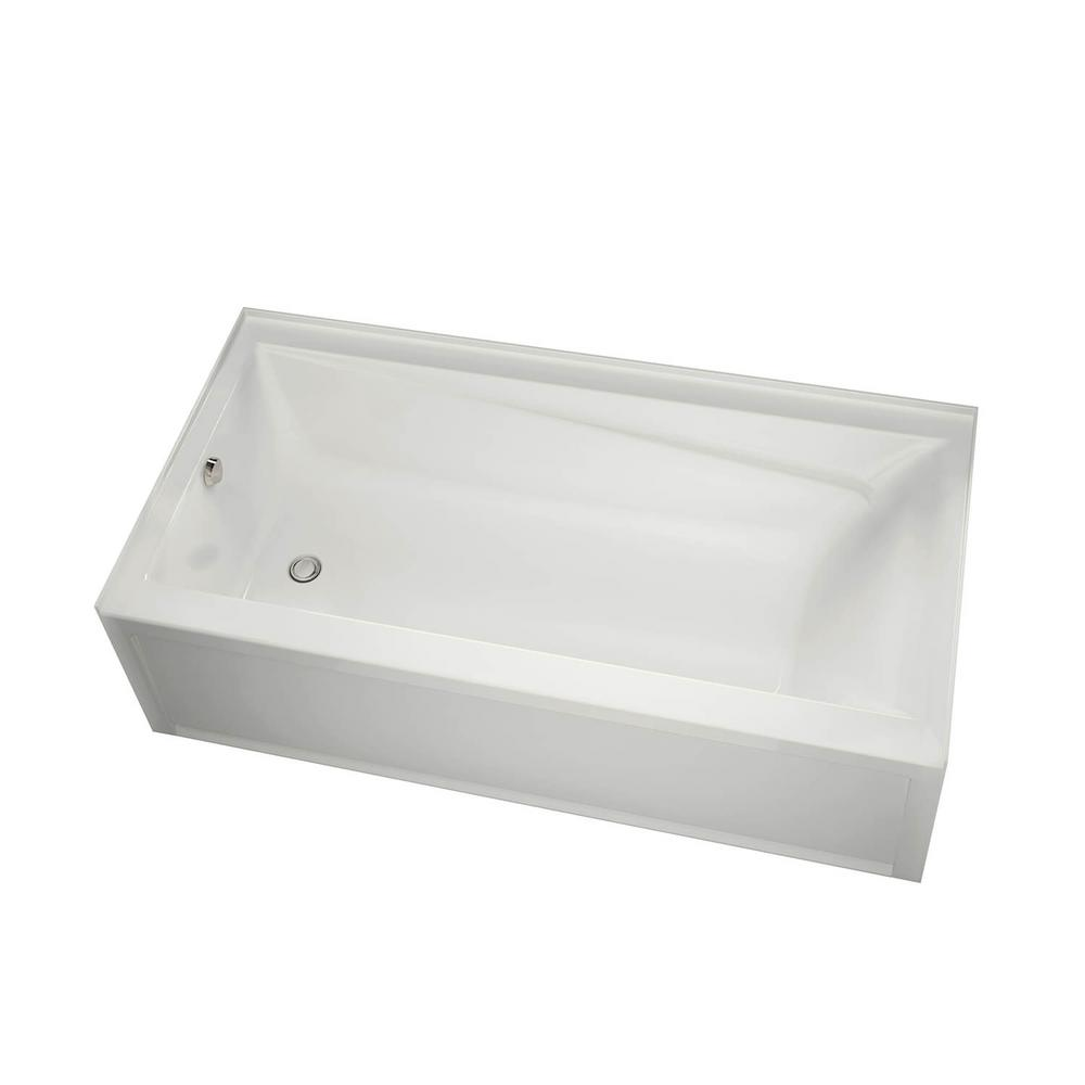 New Town 60 in. Left Drain Rectangular Alcove Non Whirlpool Tub