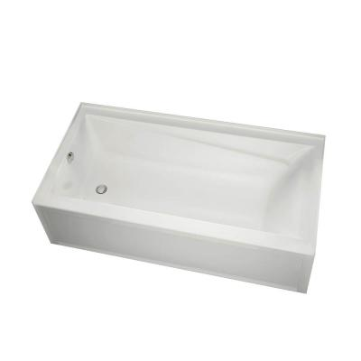 New Town 60 in. Left Drain Rectangular Alcove Non Whirlpool Tub in White