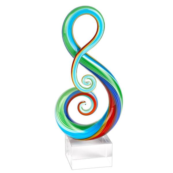 Badash Crystal Rainbow Murano Style Art Glass Note Abstract Centerpiece on Crystal Base 11 in. Tall