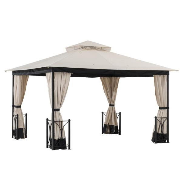 Sunjoy Delaware 11 Ft X 13 Ft Beige And Black Steel Gazebo With 2 Tier Hip Roof A101012400 The Home Depot