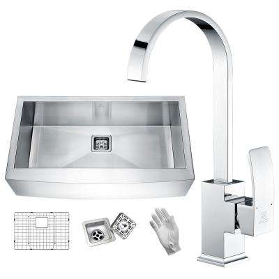 Elysian Farmhouse Stainless Steel 32 in. Single Bowl Kitchen Sink in Satin Finish with Faucet in Polished Chrome