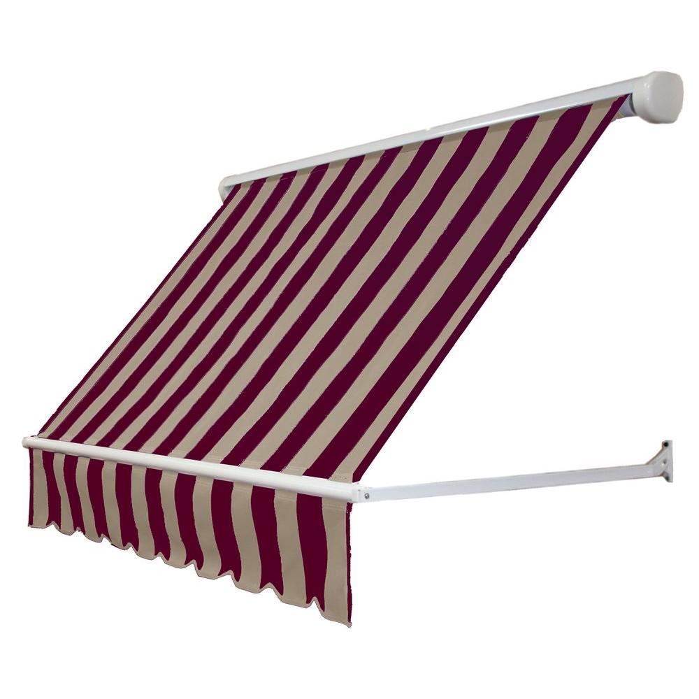 4 ft. Mesa Window Retractable Awning (24 in. Projection) in Burgundy/Tan