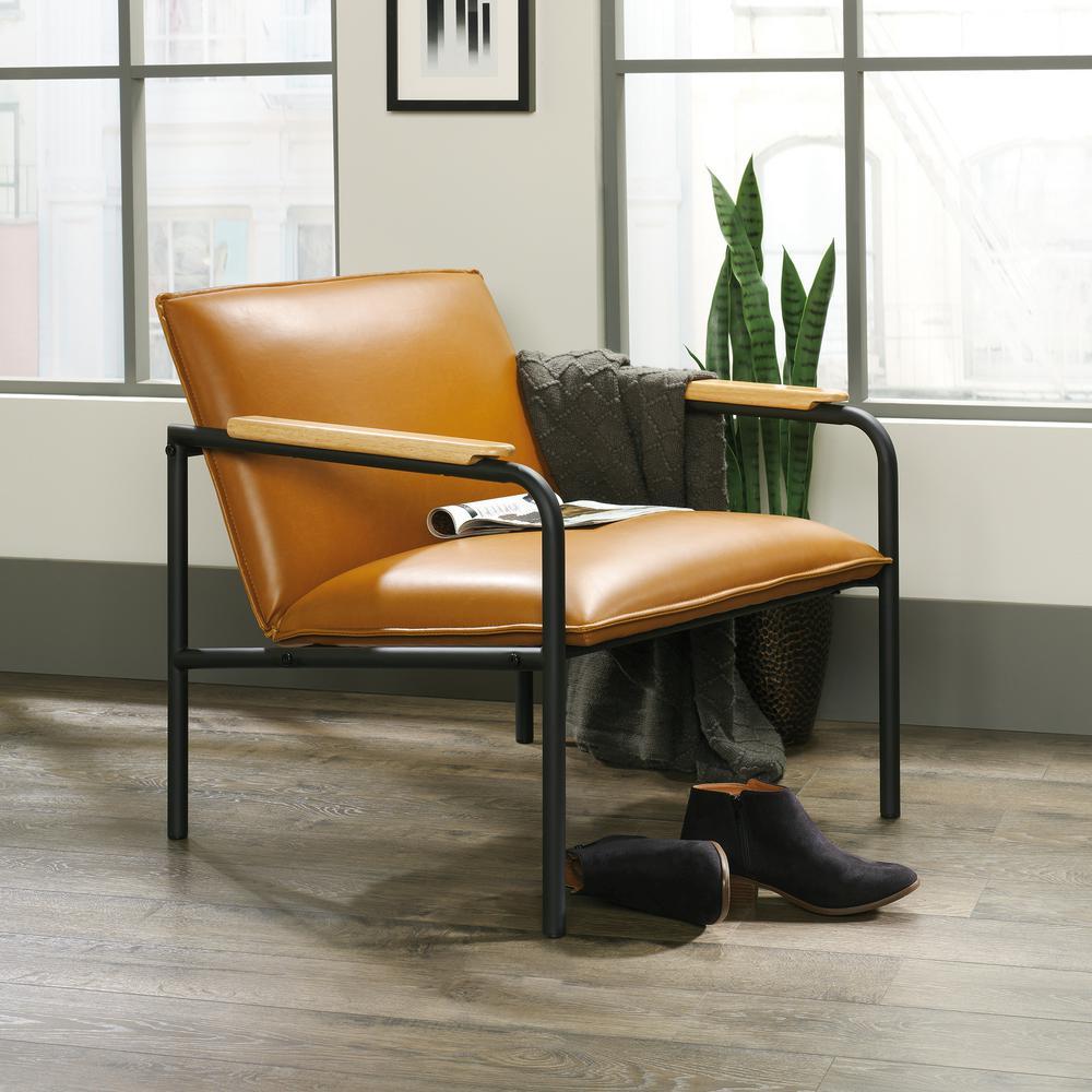 SAUDER Boulevard Cafe Camel Leather Like Metal Chair