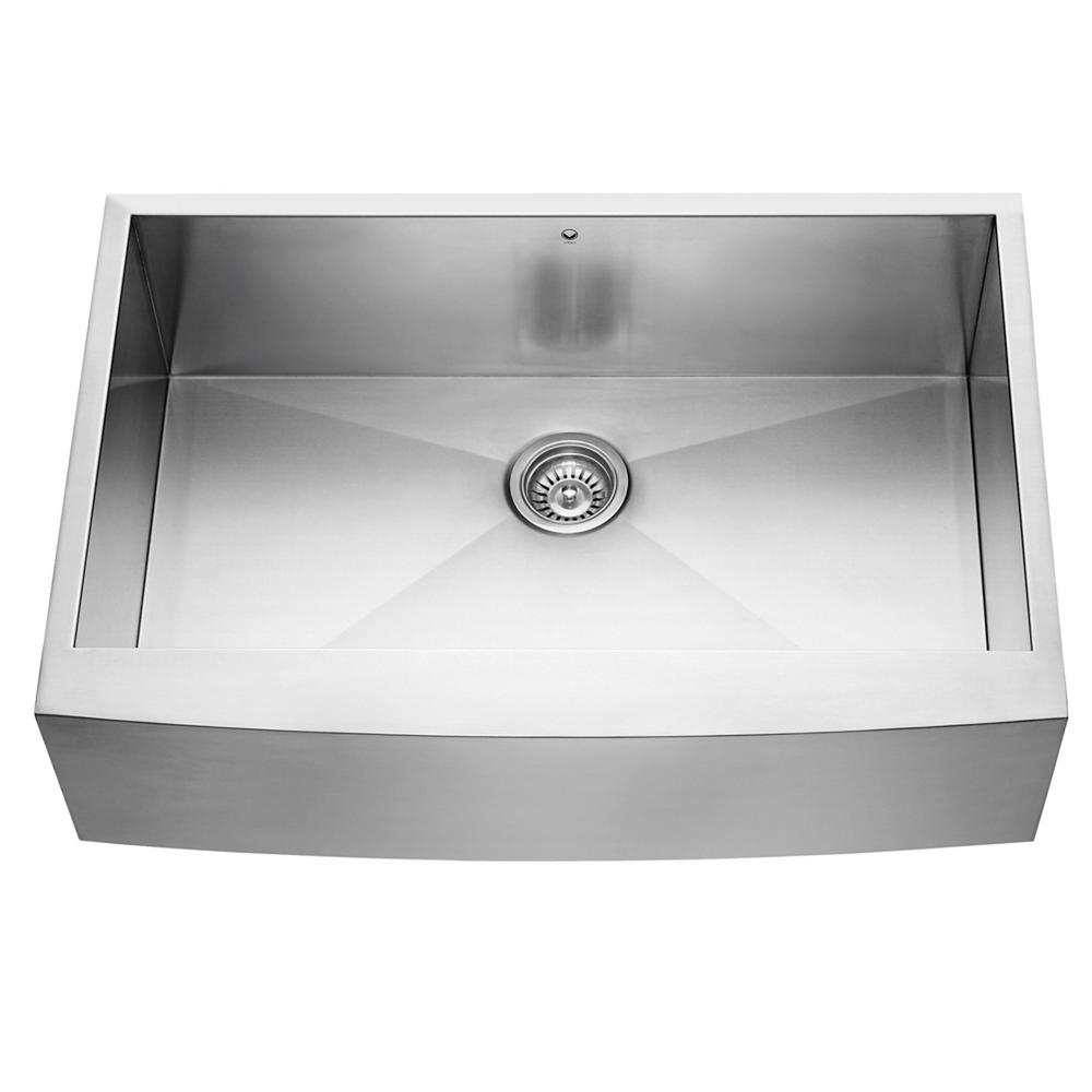 VIGO Farmhouse Apron Front Stainless Steel 33 In. Single Bowl Kitchen Sink