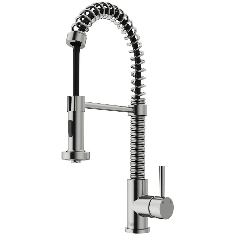 Vigo Edison Single Handle Pull Down Sprayer Kitchen Faucet In Stainless Steel