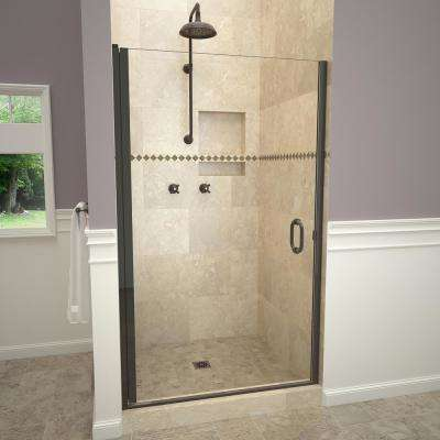 1200 Series 34 in. W x 72 in. H Semi-Frameless Pivot Shower Door in Oil Rubbed Bronze with Pull Handle and Clear Glass