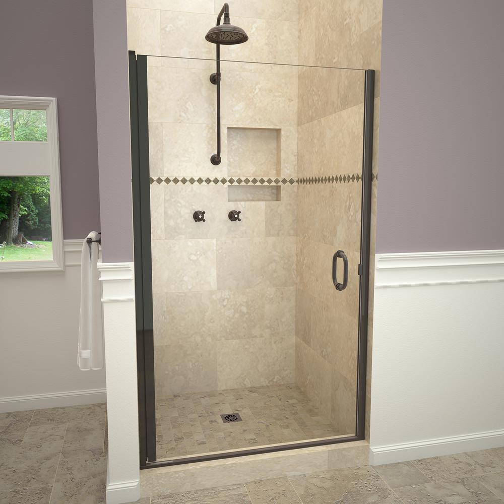 Redi Swing 1200 Series 34 In W X 76 H Semi Frameless Pivot Shower Door Oil Rubbed Bronze With Pull Handle And Clear Gl