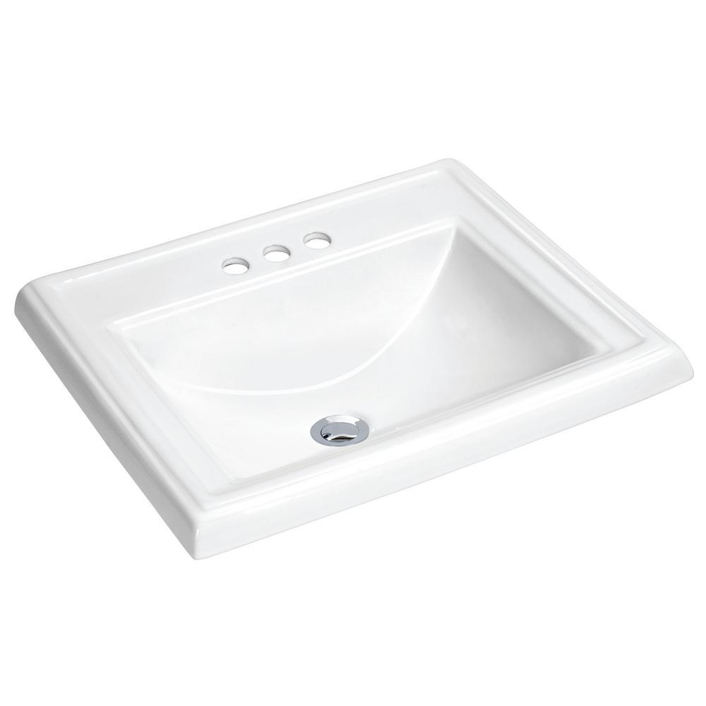 Dawn 23 in. Drop-In Vitreous China Bathroom Sink in White
