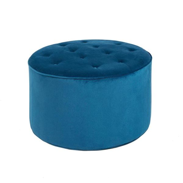 Silverwood Furniture Reimagined Collette Peacock Blue Tufted Large Round  Ottoman