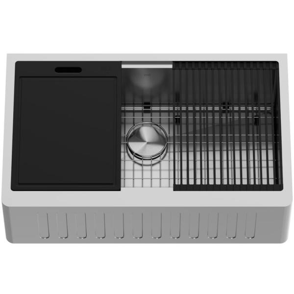 Oxford Stainless Steel 33 in. Single Bowl Slotted Farmhouse Apron-Front Workstation Kitchen Sink with Accessories