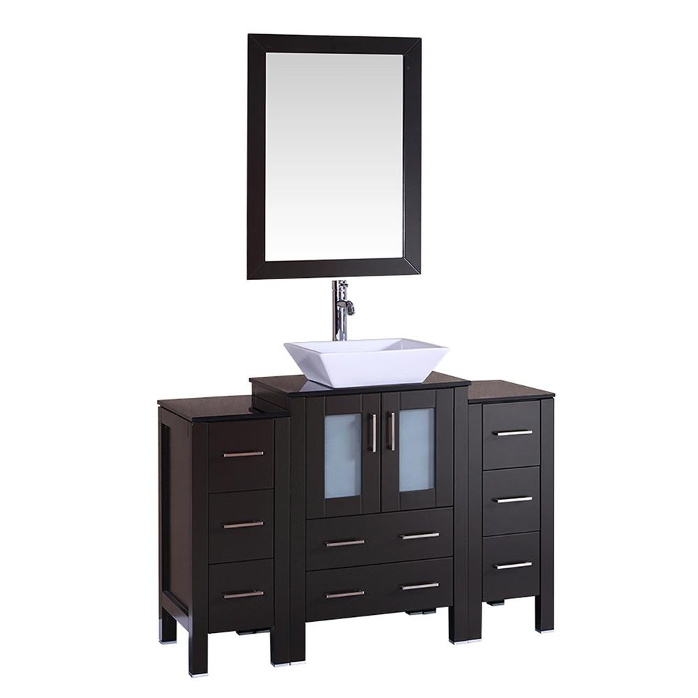 Bosconi 48 in. W Single Bath Vanity with Tempered Glass Vanity Top in Black with White Basin and Mirror