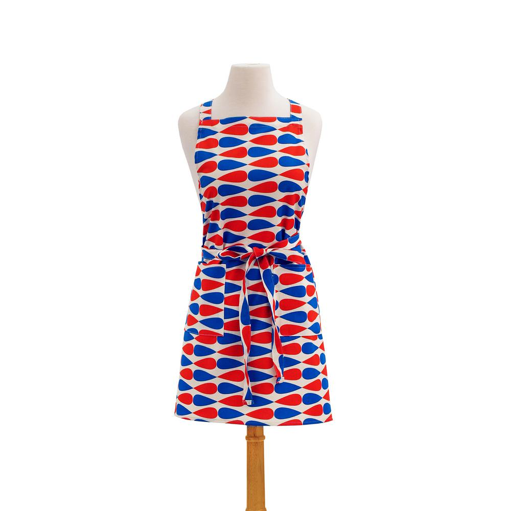 Teardrop Modern Print Cotton Butcher's Apron, Red and Whi...