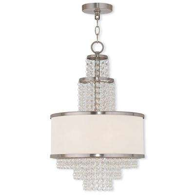 Valentina 3-Light Brushed Nickel Mini Chandelier with Off-White Sheer Organza Shade