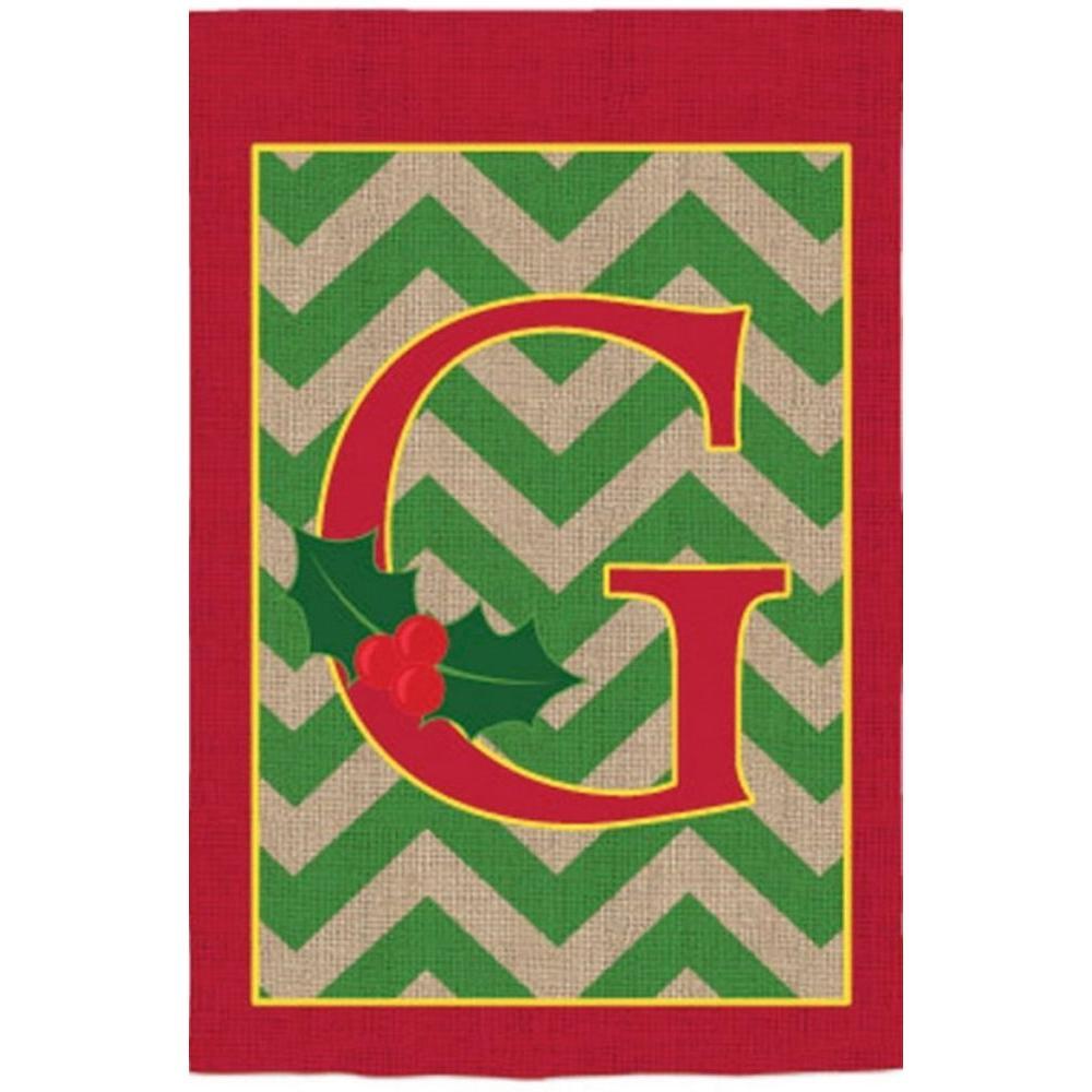 2-1/3 ft. x 3-2/3 ft. Monogrammed G Holly Burlap House Flag