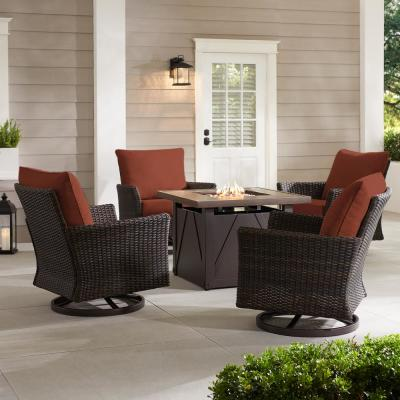 Lakeline 5-Piece Brown Metal Outdoor Patio Fire Pit Swivel Seating Set with CushionGuard Quarry Red Cushions