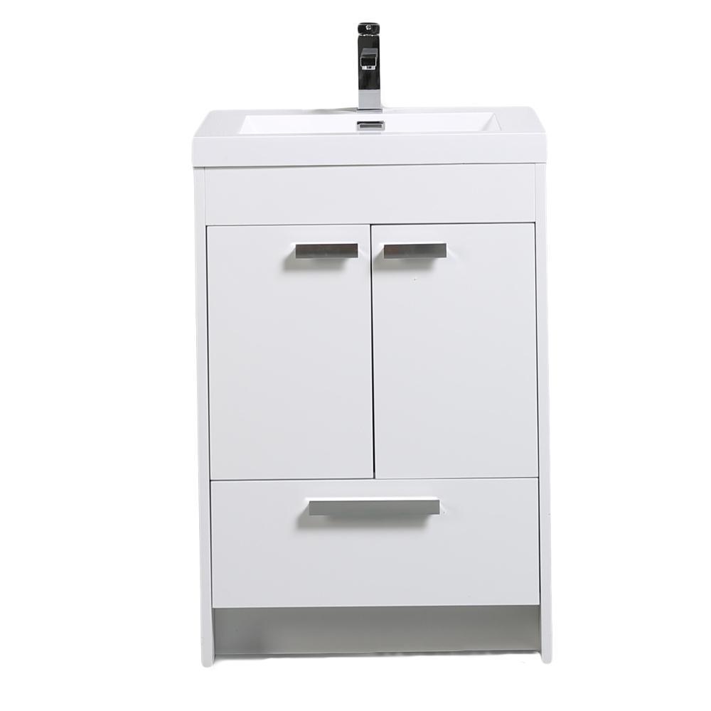 Lugano 24 in. W x 19 in. D x 34 in. H Vanity in White Oak with Acrylic Vanity Top in White with White Basin